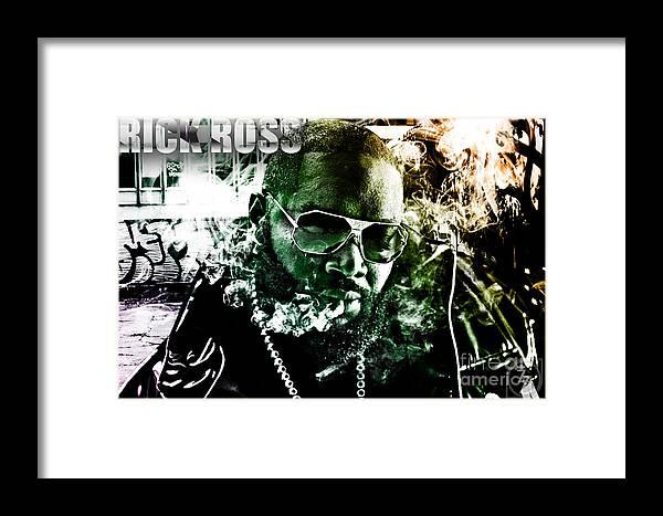 Rick Ross Framed Print featuring the digital art Rick Ross by The DigArtisT