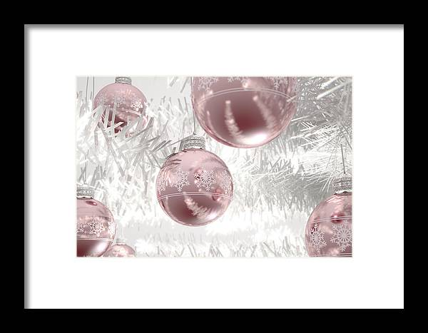 Bauble Framed Print featuring the digital art Rose Gold Christmas Baubels by Allan Swart