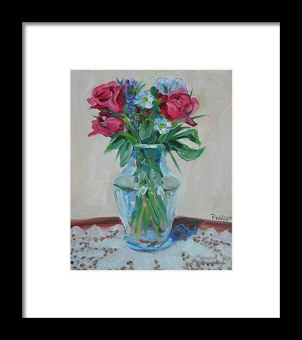 Roses Framed Print featuring the painting 3 Roses by Paul Walsh