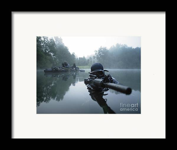 Special Operations Forces Framed Print featuring the photograph Special Operations Forces Combat Diver by Tom Weber