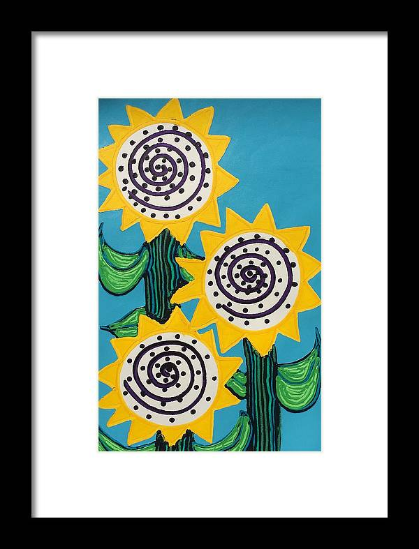 Flowers Framed Print featuring the painting 3 Sunflowers by Matthew Brzostoski