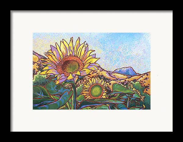 Sunflower Framed Print featuring the painting 3 Sunflowers by Nadi Spencer