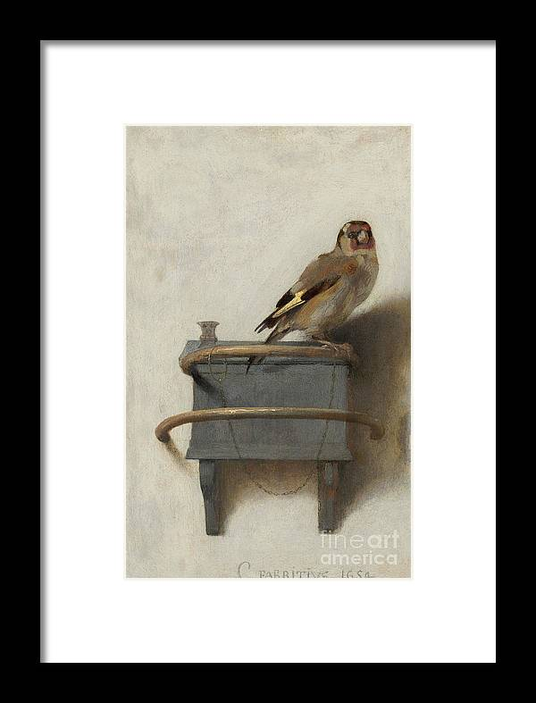 The Goldfinch Framed Print featuring the painting The Goldfinch by Carel Fabritius