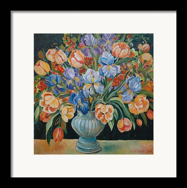 Still Life Framed Print featuring the painting Tulips by Alexandra Maria Ethlyn Cheshire
