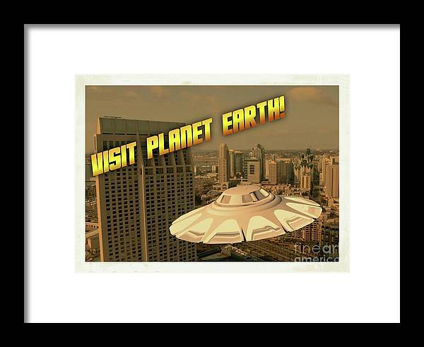 Ufo Framed Print featuring the digital art Ufo Postcards Home By Raphael Terra by Raphael Terra
