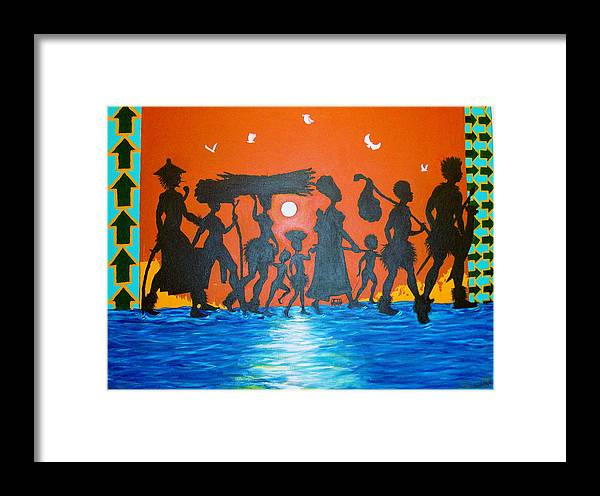Malik Seneferu Framed Print featuring the painting Uhuru Series by Malik Seneferu