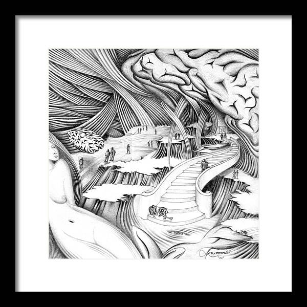 Surrealism Framed Print featuring the drawing Untitled by Aziz Awang