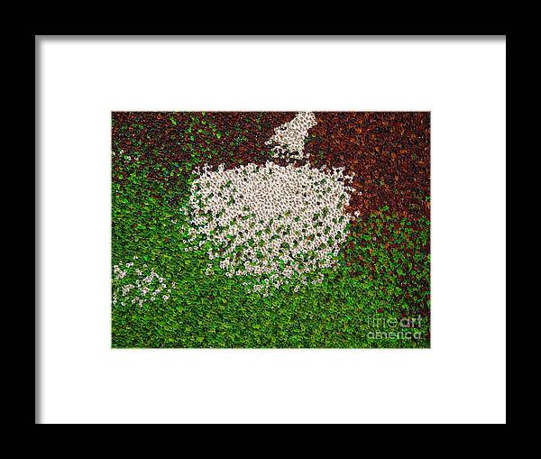 Abstract Framed Print featuring the painting Soft Green with Brown, Buff and White by Dean Triolo