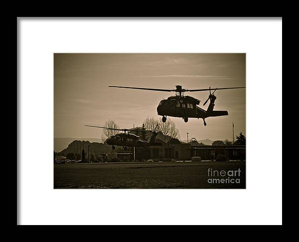 Us Army Framed Print featuring the photograph Us Army Blackhawks by Brenton Woodruff