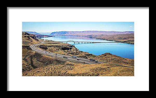 River Framed Print featuring the photograph Wanapum Lake Colombia River Wild Horses Monument And Canyons by Alex Grichenko
