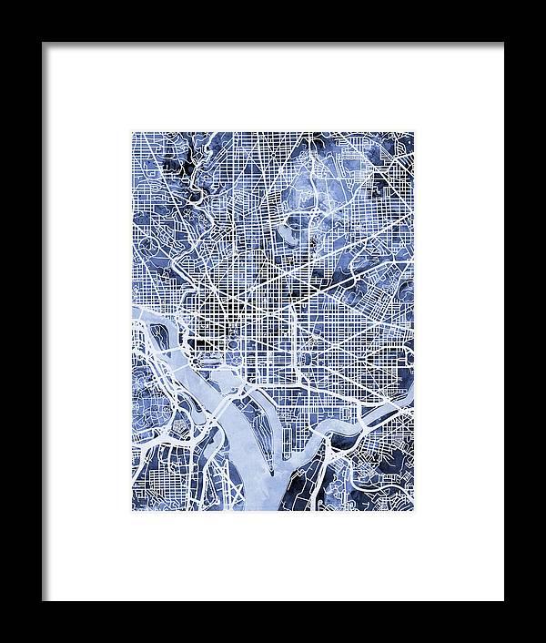 Washington Dc Street Map Framed Print by Michael Tompsett on