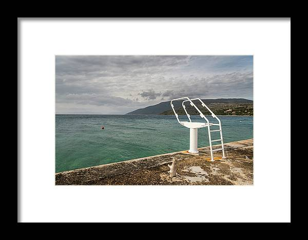 Island Framed Print featuring the photograph White Ladder Of A Diving Board At The Beach In Cres by Stefan Rotter