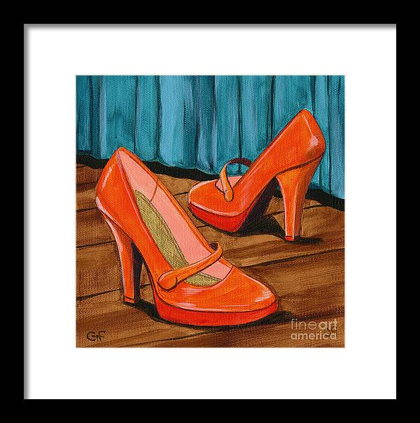 Shoes Framed Print featuring the painting Who Wears These Shoes by Gail Finn