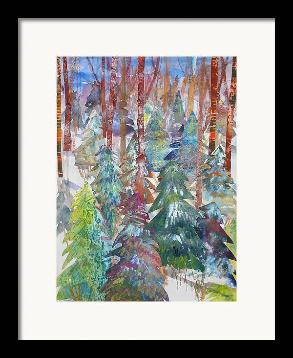 Landscape Framed Print featuring the mixed media Winter Collage by Joyce Kanyuk