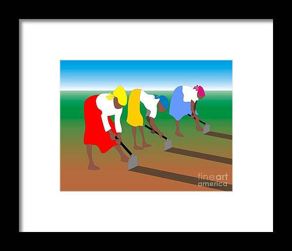 Portraits Framed Print featuring the digital art 3 Women Working by Walter Neal