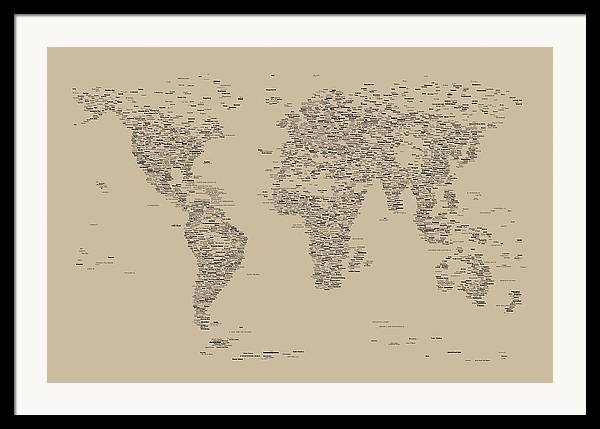 Map Of The World Framed Print featuring the digital art World Map Of Cities by Michael Tompsett