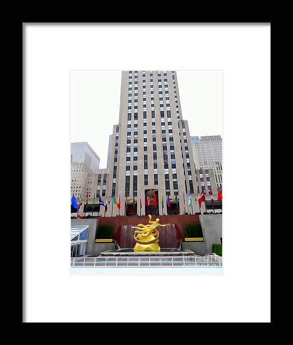 Digital Art Framed Print featuring the photograph 30 Rock by Ed Weidman