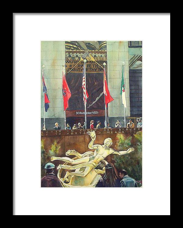 Manhattan Framed Print featuring the painting 30 Rock by June Conte Pryor