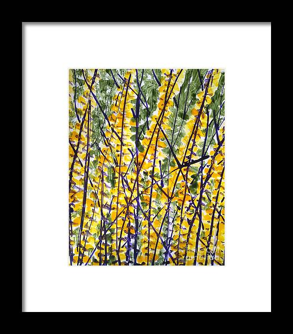 Flowers Abstarct Framed Print featuring the painting Divine Flowers by Baljit Chadha