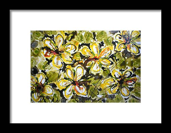Flowers Framed Print featuring the painting Divine Blooms by Baljit Chadha
