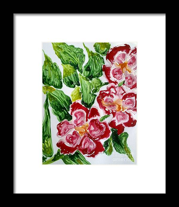 Abstractflowers Framed Print featuring the painting Divine Flowers by Baljit Chadha
