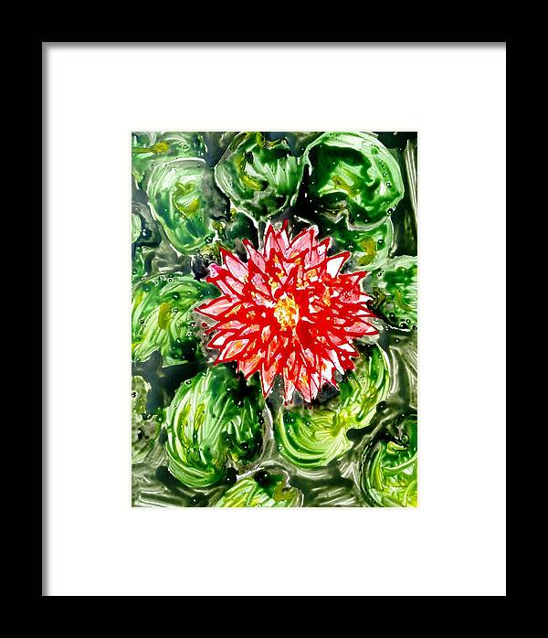 Abstract Flowers Framed Print featuring the painting Divine Flowers by Baljit Chadha