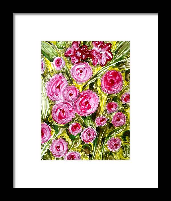 Abstract Flwoers Framed Print featuring the painting Divine Flowers by Baljit Chadha