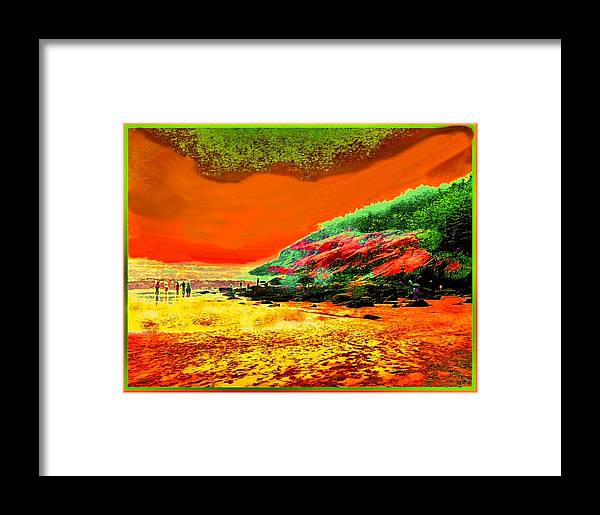Colorful Landscape Framed Print featuring the painting 34g  Beach After A Storm by Ed Immar