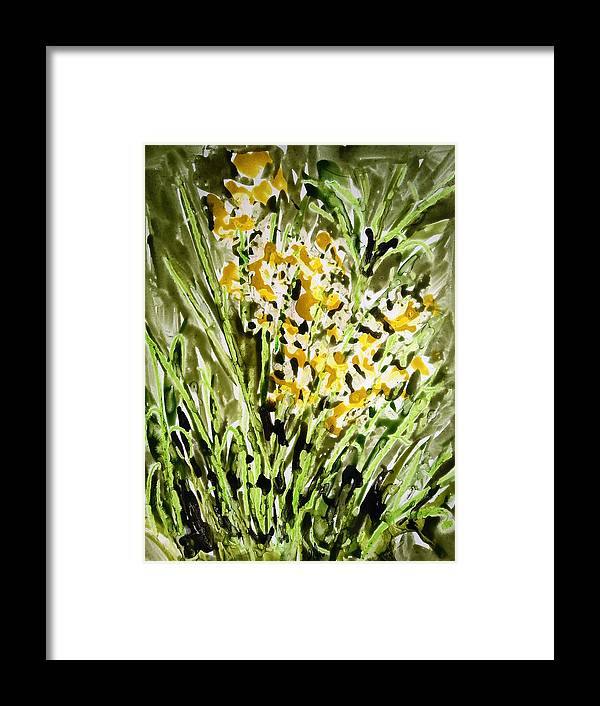 Abstract Framed Print featuring the painting Divine Flowers by Baljit Chadha