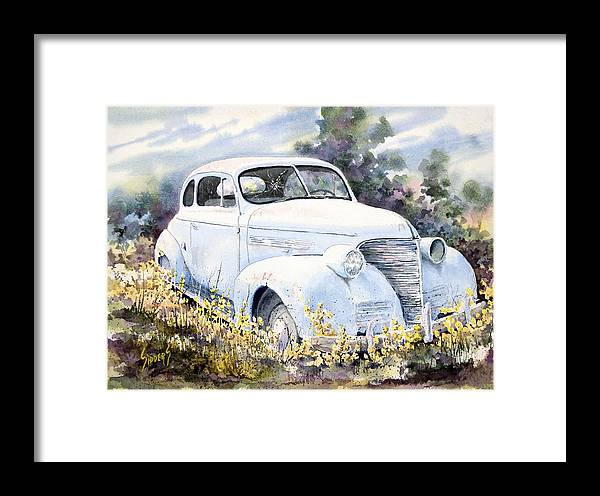 Automobile Framed Print featuring the painting 39 Chevy by Sam Sidders