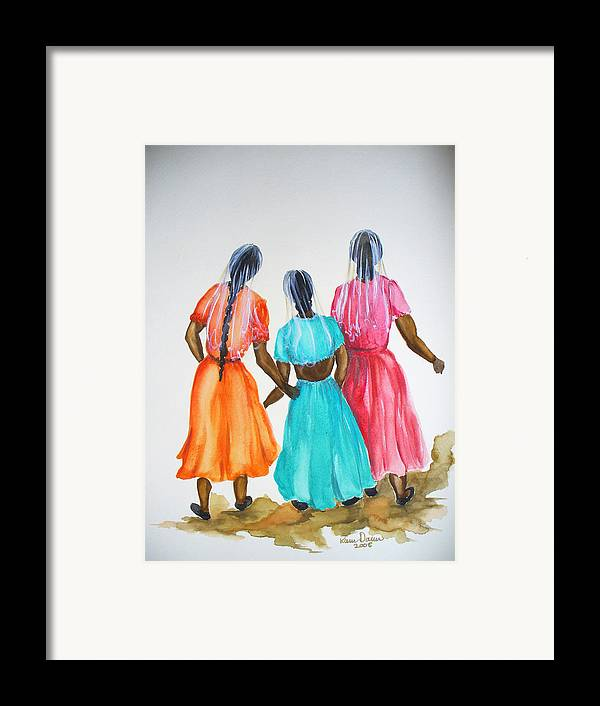 Three Ladies East Indian Framed Print featuring the painting 3bff by Karin Dawn Kelshall- Best