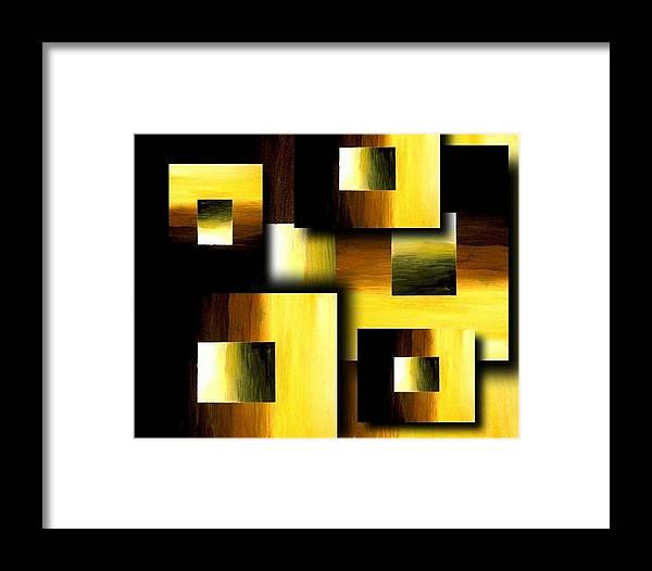 Golden Squares Framed Print featuring the painting 3d Golden Squares by Teo Alfonso