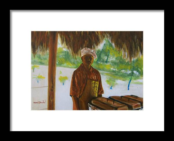 Food Service Worker On Island In The Caribbeans Framed Print featuring the painting Untitled by Howard Stroman
