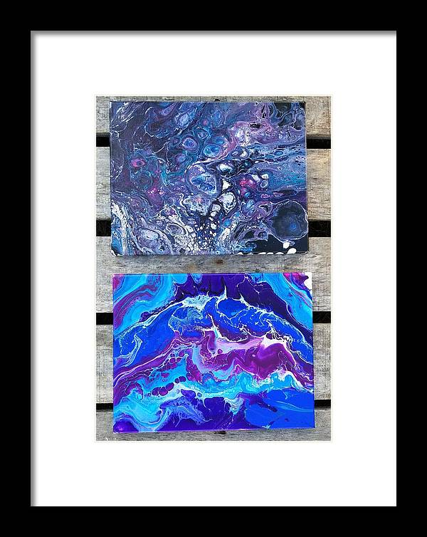 Hand-painted Blues And Purples Acrylic Pouring Canvases Framed Print featuring the painting Acrylic Pouring by Melanie Gomez