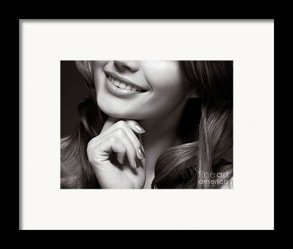 Beauty Framed Print featuring the photograph Beautiful Young Smiling Woman by Oleksiy Maksymenko