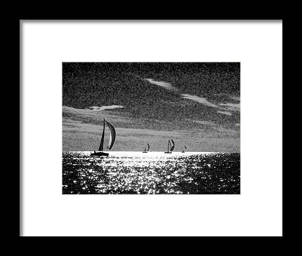 Fairhope Framed Print featuring the photograph 4 Boats On The Horizon Bw by Michael Thomas