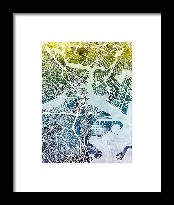 Street Map Framed Print featuring the digital art Boston Massachusetts Street Map by Michael Tompsett