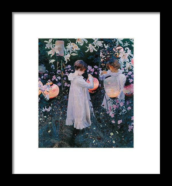 Sargent Framed Print featuring the painting Carnation Lily Lily Rose by John Singer Sargent