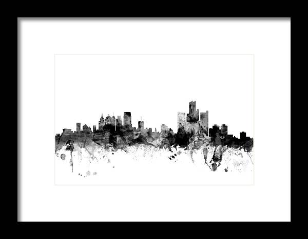 United States Framed Print featuring the digital art Detroit Michigan Skyline by Michael Tompsett