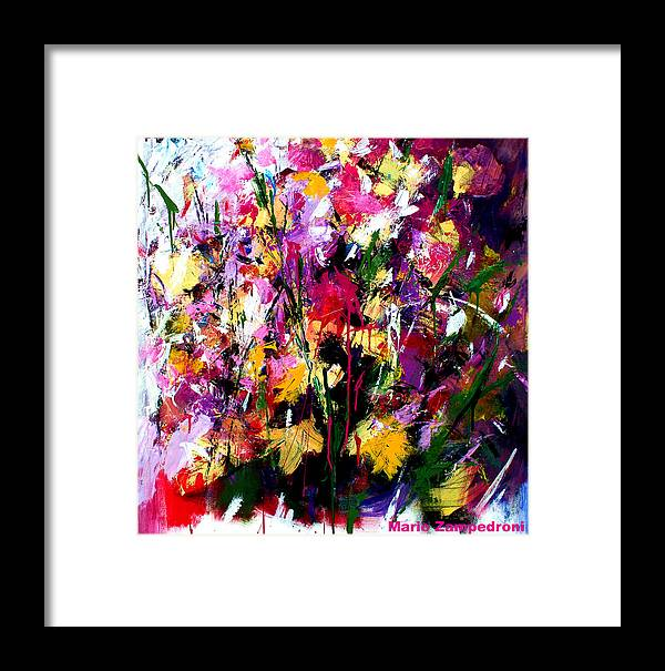 Fucsia Framed Print featuring the painting Flowers by Mario Zampedroni