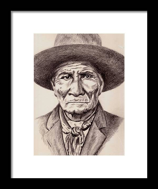 Geronimo Framed Print featuring the drawing Geronimo by Toon De Zwart