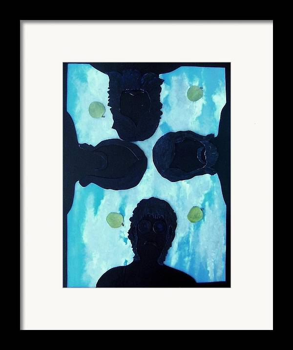 Music Framed Print featuring the painting 4 Green Apples by Richard Hubal