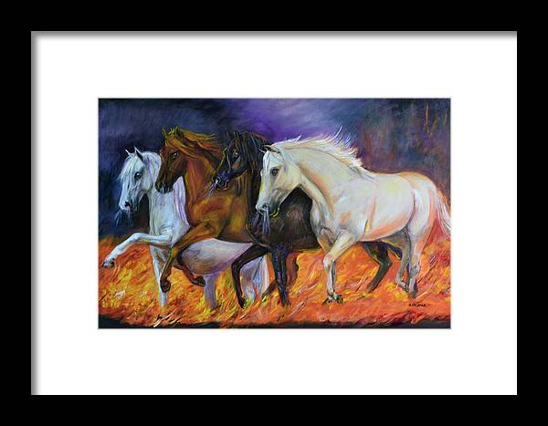 Horse Framed Print featuring the painting 4 Horses Of The Apocalypse by Olga Kaczmar
