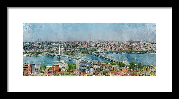 Sea Framed Print featuring the painting Istanbul Turkey Cityscape Digital Watercolor On Photograph by Brandon Bourdages
