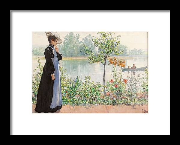 Karin By The Shore By Carl Larsson Framed Print featuring the painting Karin By The Shore by Carl Larsson