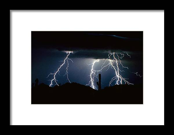 Landscape Framed Print featuring the photograph 4 Lightning Bolts Fine Art Photography Print by James BO Insogna