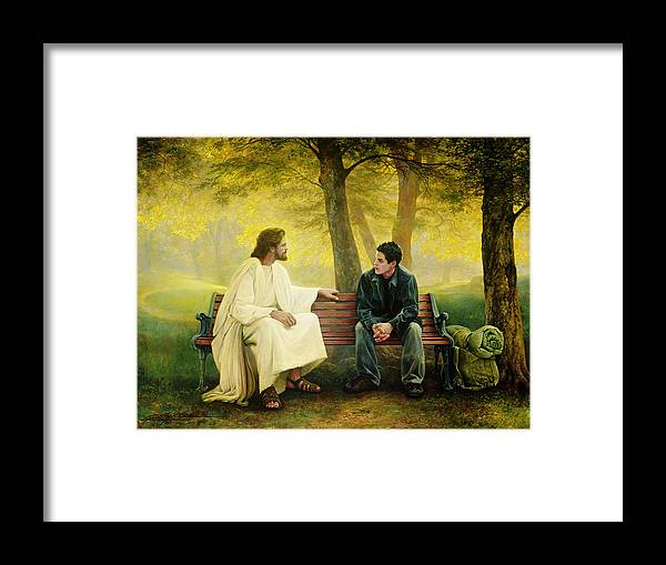 Jesus Framed Print featuring the painting Lost and Found by Greg Olsen