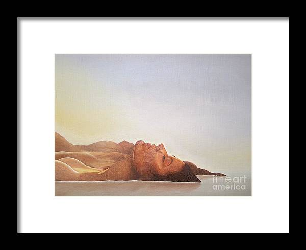 Landscape Framed Print featuring the painting No Title by Marek Halko