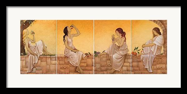 Season Framed Print featuring the painting 4 Seasons II by Barbara Gerodimou