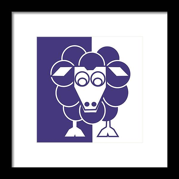 Sheep Framed Print featuring the painting Sleep-sheep - Lonvig By Minymo by Asbjorn Lonvig